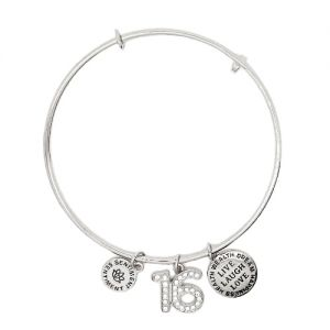 Sentiment Silver Crystal Sweet 16 Charm Bangle