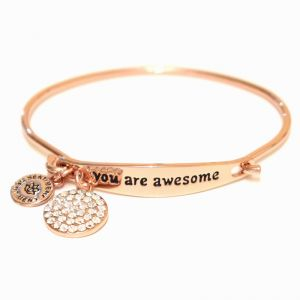 Sentiment You Are Awesome ID Rose Gold Bangle