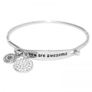Sentiment You Are Awesome ID Silver bangle