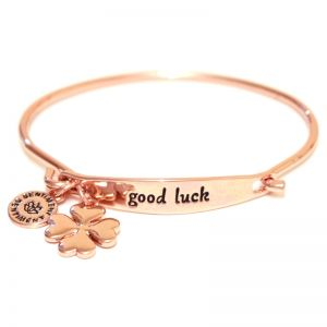 Sentiment Good luck ID Rose Gold Bangle