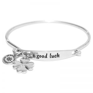 Sentiment Good luck ID Silver Bangle