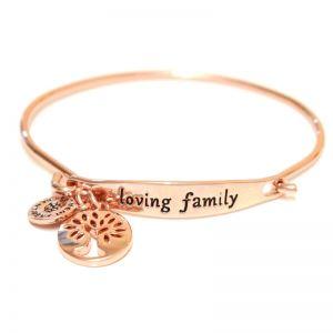 Sentiment Loving family ID Rose Gold Bangle