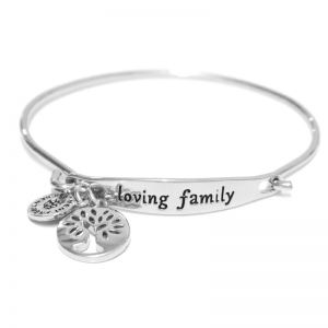 Sentiment Loving family ID Silver Bangle