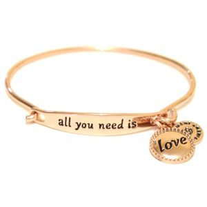 Sentiment All you need is love ID Rose Gold bangle