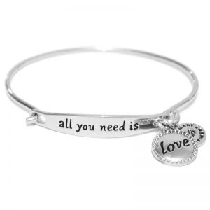 Sentiment All you need is love ID Silver Bangle