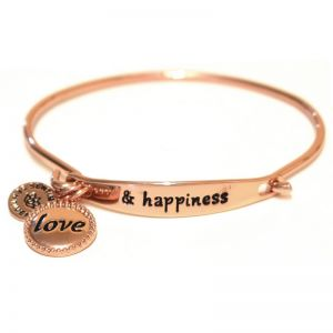 Sentiment Love & happiness ID Rose Gold Bangle