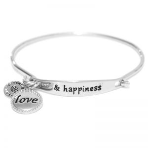 Sentiment Love & happiness ID Silver bangle