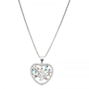 Karine and Co Sterling Silver Heart Tree Necklace