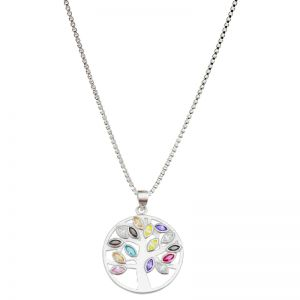 Karine and Co Sterling Silver Coloured Tree Necklace