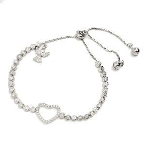 K & Co. Sterling Silver Adjustable Heart Bracelet