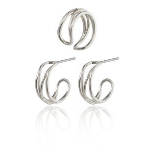 NATIVE BEAUTY small huggie hoops and ear cuff silver-plated
