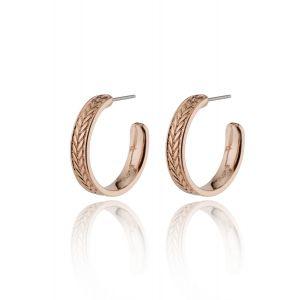 LEGACY wheat leaf medium hoop earrings rosegold-plated