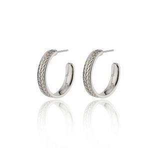 LEGACY wheat leaf medium hoop earrings silver-plated