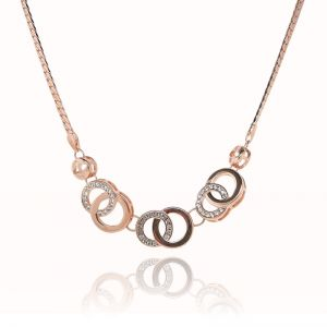 Matisse Rose Gold Intertwined Circle Crystal Necklace