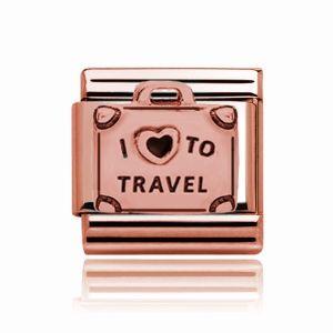 Charmlinks Rose Gold I Love Travel Charm