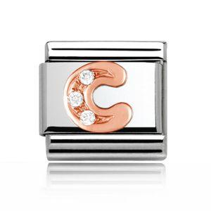 Charmlinks Letter C Rose Gold Silver