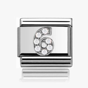 Number Charm Silver  - 6