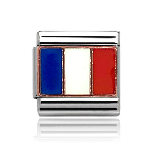 Charmlinks Rose Gold on Silver French Flag Charm