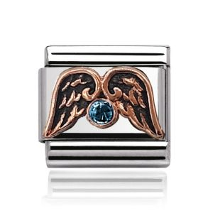 Charmlinks Rose Gold on Silver Aquamarine and Wings Charm
