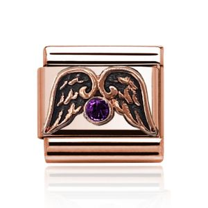 Charmlinks Rose Gold Amethyst and Wings Charm