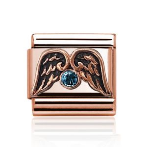 Rose Gold Aquamarine and Wings Charm