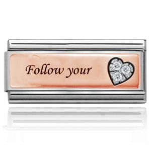 Charmlinks Follow Your Heart Rose Gold on Silver Super Charm