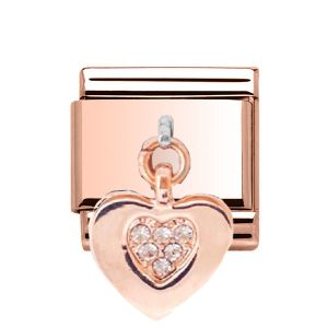 Charmlinks Rose Gold on Silver Heart Charm