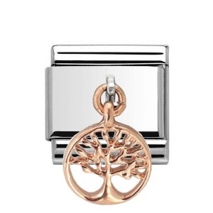Charmlinks Rose Gold on Silver Tree Drop Charm