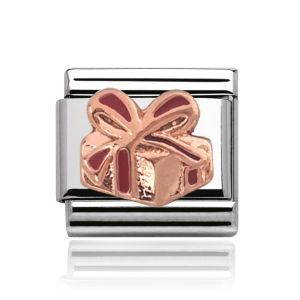 Charmlinks Rose Gold on Silver Present Charm