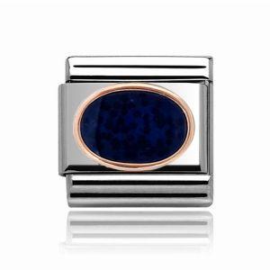 Charmlinks Rose Gold on Silver Dark Blue Stone Charm