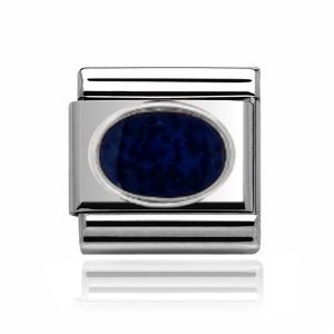 Charmlinks Silver Dark Blue Stone Charm