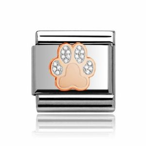 Charmlinks Rose Gold on Silver Paw Charm