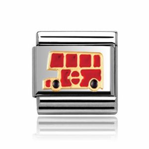 Charmlinks Gold on Silver Bus Charm
