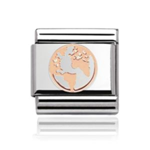 Charmlinks Rose Gold on Silver Globe Charm