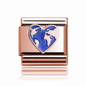 Charmlinks Rose Gold Heart Globe Charm