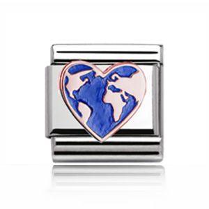Charmlinks Rose Gold on Silver Heart Globe Charm
