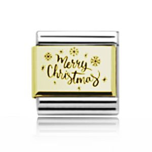 Charmlinks Yellow Gold on Silver Merry Christmas Charm