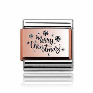Charmlinks Rose Gold Merry Christmas Charm