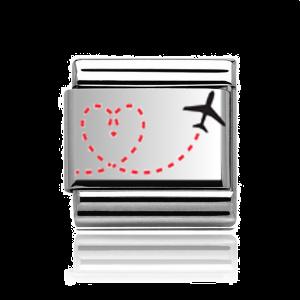 Charmlinks Silver Travel Heart Charm