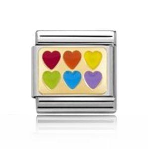 Charmlinks Gold on Silver Rainbow Hearts Charm