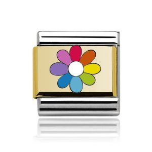Charmlinks Gold on Silver Rainbow Flower Charm