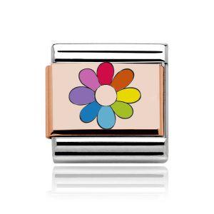 Charmlinks Rose Gold on Silver Rainbow Flower Charm