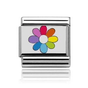 Charmlinks Silver on Silver Rainbow Flower Charm