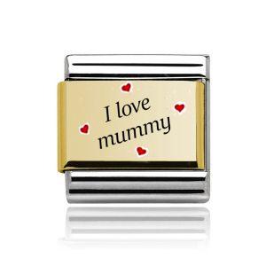 "Charmlinks Gold on  Silver "" I love Mummy"" Charm"