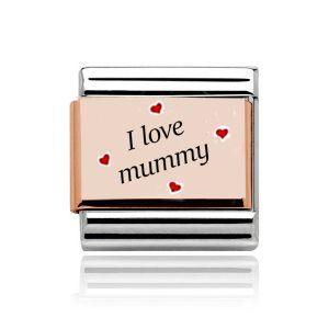 "Charmlinks Rose Gold on  Silver "" I love Mummy"" Charm"
