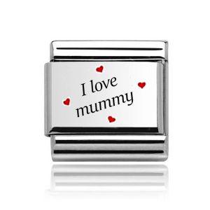 "Charmlinks Silver on  Silver "" I love Mummy"" Charm"