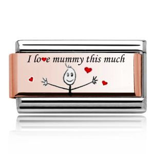 """Charmlinks Rose Gold on Silver """"I love Mummy this much"""" double charm"""