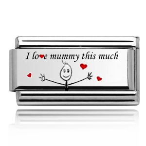 """Charmlinks Silver on Silver """"I love Mummy this much"""" double charm"""