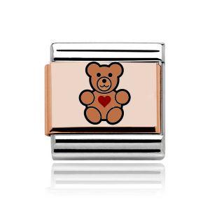 Charmlinks Rose Gold on Silver Teddy Bear Charm