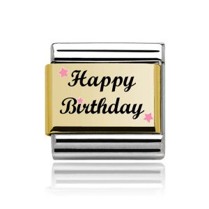 Charmlinks Gold on Silver Happy Birthday Charm